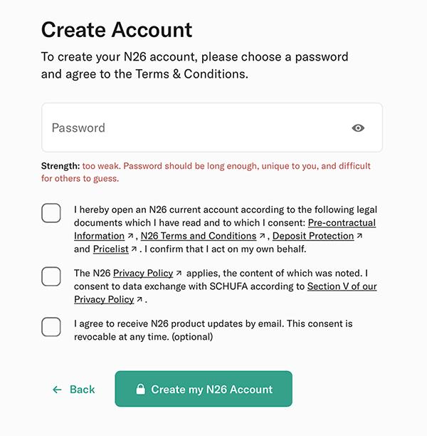 n26 create account